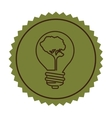 stamp silhouette bulb with tree shape flat icon vector image