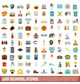 100 school icons set flat style vector image