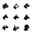 Doggy icons set simple style vector image