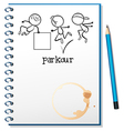A notebook with a sketch of a parkour training at vector image