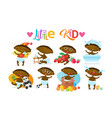 Cute african american baby boy set toddler happy vector image