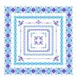Set of isolated blue folk frame vector image