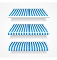 colorful awnings for shop set blue vector image