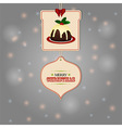 Christmas tags and pudding background vector image