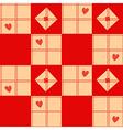 Chessboard Beige Red Heart Valentine Background vector image