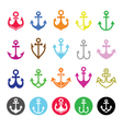 Anchor icons set - symbol of sailors sea and Chr vector image vector image