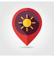 Sun flat pin map icon Meteorology Weather vector image