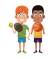 boys sport tennis and basketball design vector image