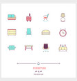 color line icon set of furniture interior objects vector image