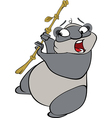 Cute little panda with bamboo vector image