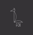 Fox in thin line animal logo black and white vector image