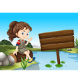 Girl sitting by the river vector image