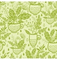 Green tea cups seamless pattern background vector image