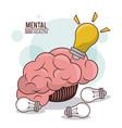 mental health human brain bulb idea innovation vector image