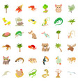 sand plant icons set cartoon style vector image