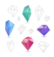 set of colorful 3d and line diamonds vector image