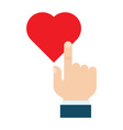 Hand pressing like heart button vector image
