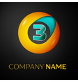 Number three logo symbol in the colorful circle on vector image
