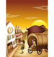 A wagon with kids near a saloon vector image vector image