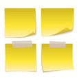 yellow sticky note with adhesive tape isolated on vector image