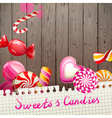 sweets and candies background vector image vector image
