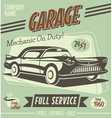Retro car service sign vector image