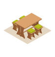 isometric dining table with chairs vector image