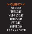 handwritten grunge lettering days of the week vector image