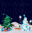 Snowman is decorating the Christmas tree banner vector image