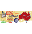 Cheap Flight To Australia 1500x600 Banner vector image