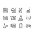 Event agency black simple line icons set vector image