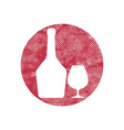 Glass and bottle of cognac icon with pixel print vector image