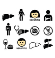 Liver disease Hepatitis health icons set vector image