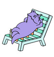 purple dragon resting on a deck-chair vector image