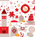 seamless pattern with sea icons on white vector image