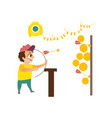 shooting gallery and boy isolated vector image