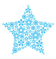 Christmas star made of star and snowflakes icons vector image