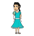 cute girl in thinking pose vector image