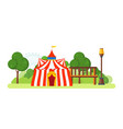 circus building located in park and attractions vector image