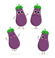 Eggplant Cute vegetable character set isolated on vector image