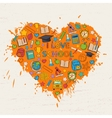 I love school heart vector image