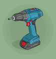 screwdriver building electric tool vector image