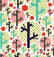 Seamless handwork pattern with colorful trees and vector image