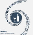 Wine Icon in the center Around the many beautiful vector image