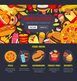 fast food web site landing page template vector image vector image