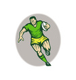 Rugby player running with ball vector image vector image