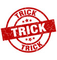 Trick round red grunge stamp vector image