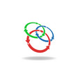 Three circles arrows loop logo cycles three vector image