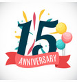 anniversary 15 years template with ribbon vector image
