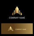 arrow up triangle gold logo vector image